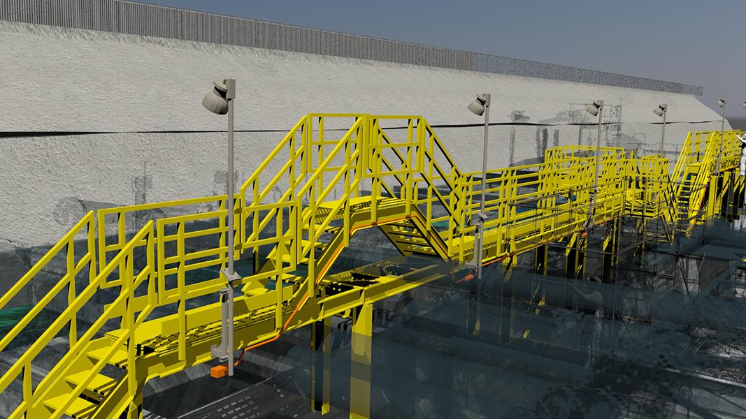 Plataformas patio de estanque óxido - Minera Escondida